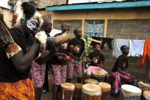 Zakale Creations employees welcome visitors in song and dance
